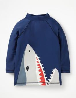 Deep Sea Blue Shark Logo Rash Vest