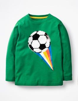 Watercress Green Football Superstar Sequin T-shirt