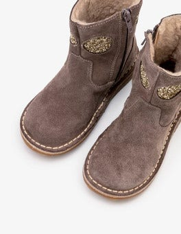 Mouse Brown Short Leather Boots