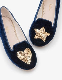 Navy Embellished Flats