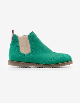Willow Green Leather Chelsea Boots