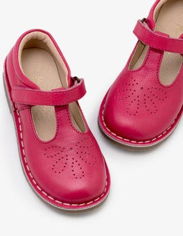 Rose Blossom Pink Leather T-Bar Flats