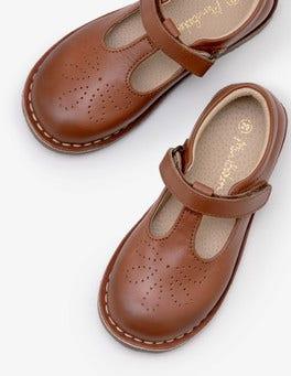 Tan Leather T-Bar Flats
