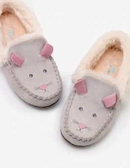 Shale Grey Novelty Suede Slippers