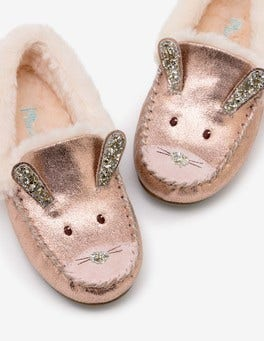 Rose Gold Novelty Suede Slippers