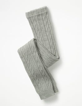 Grey Marl Cable Footless Tights