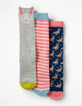 Formica Pink Bunnies 3 Pack Knee-high Socks