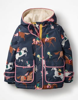 School Navy Jumping Ponies Sherpa-Lined Anorak