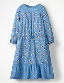 Blue Vintage Posy Woven Hotchpotch Dress