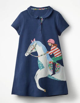 Starboard Blue Horse Big Appliqué Polo Dress