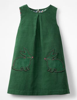 Willow Green Bunnies Novelty Pocket Cord Pinafore