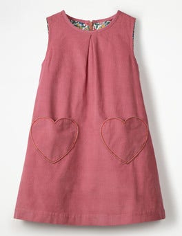 Rose Pink Hearts Novelty Pocket Cord Pinafore