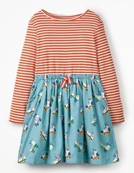 Blue Roller Skates Hotchpotch Tie-waist Dress