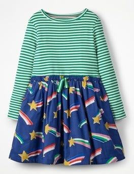 Starboard Blue Rainbow Stars Hotchpotch Tie-waist Dress