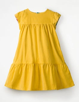 Honeycomb Yellow Pretty Cord Dress