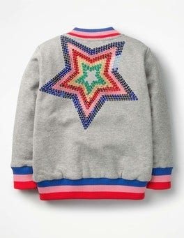 Grey Marl Rainbow Star Star Bomber Jacket