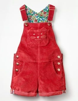 Poppy Red Short Dungarees