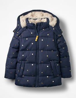 Navy/Gold Spots Cosy Two-in-one Padded Jacket