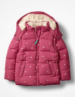 Rose Blossom Pink/Gold Spots Cosy Two-in-one Padded Jacket