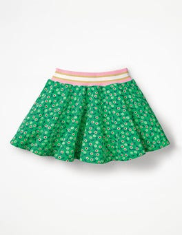 Green Pepper Retro Daisies Colourful Skater Skirt