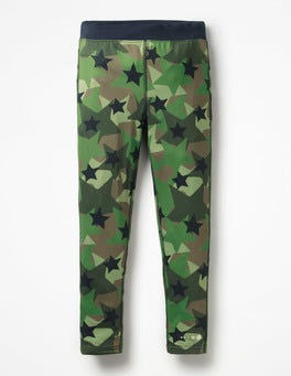 Army Green Camo Star Active Leggings