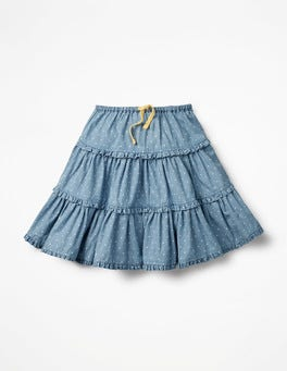 Chambray Pin Spots Twirly Frilly Skirt