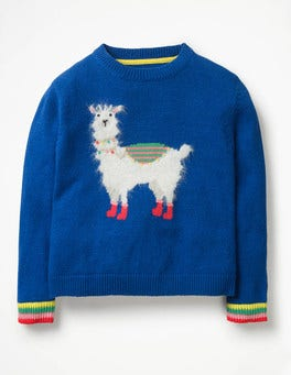 Cobalt Blue Llama Animal Antics Sweater