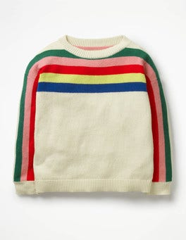 Ecru Marl Rainbow Stripe Jumper