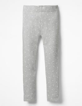 Grey Marl Ecru Stars Fun Cosy Leggings