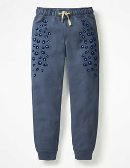 School Navy Marl/Animal Print Detailed Joggers