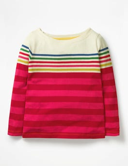 Rainbow/Pink Multistripe Fun Breton T-shirt