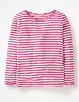 Tickled Pink/Ecru Supersoft Pointelle T-shirt