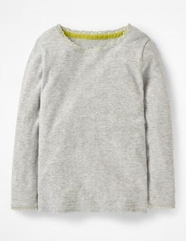 Grey Marl Supersoft Pointelle T-shirt