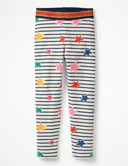 Starboard Blue/Ecru Stars Detailed Leggings