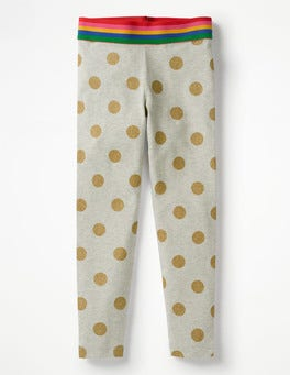Grey Marl/Gold Glitter Spot Detailed Leggings