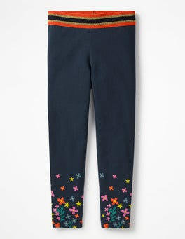 School Navy Detailed Leggings