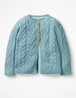 Ice Blue Cosy Cable Cardigan