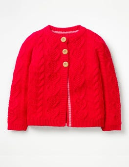 Polish Red Cosy Cable Cardigan