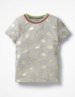 Grey Marl/Gold Foil Spot Time To Shine T-shirt