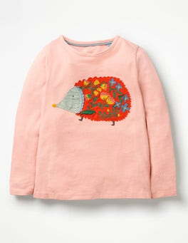 Provence Dusty Pink Hedgehog Felt Appliqué Pet T-shirt