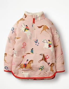 Provence Dusty Pink Ponies Reversible Half-zip Sweatshirt