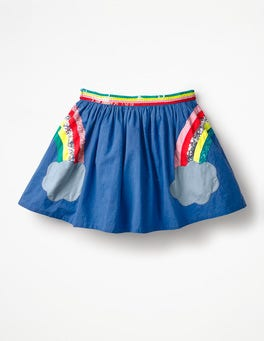 Cobalt Blue Rainbows Sequin Appliqué Woven Skirt