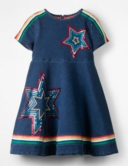 Mid Vintage Jersey Denim Skater Dress