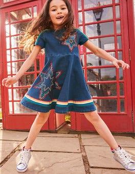 Jersey Denim Skater Dress