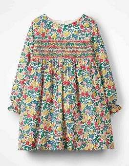 Multi Flowerbed Long-sleeved Smocked Dress