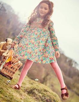 Long-sleeved Smocked Dress