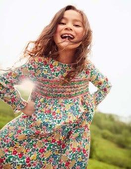 Long-sleeved Smocked Dress