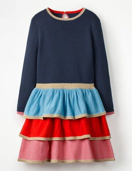 School Navy/Multi Tiered Knitted Dress