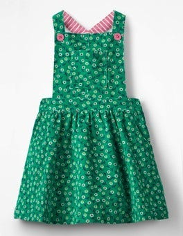 Green Pepper Retro Daisies Dungaree Dress