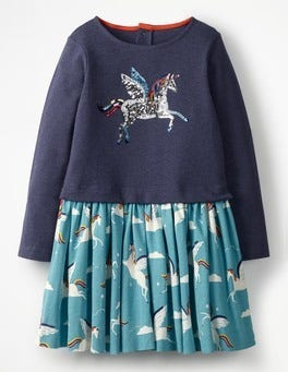 Blue Rainbow Unicorns Sequin Logo Dress